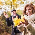 Elderly couple on autumn walk