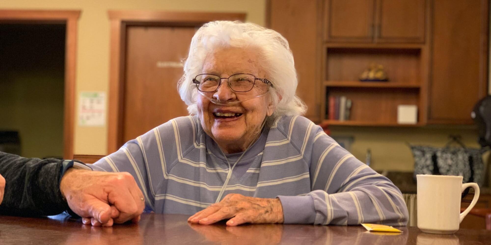laughing senior resident