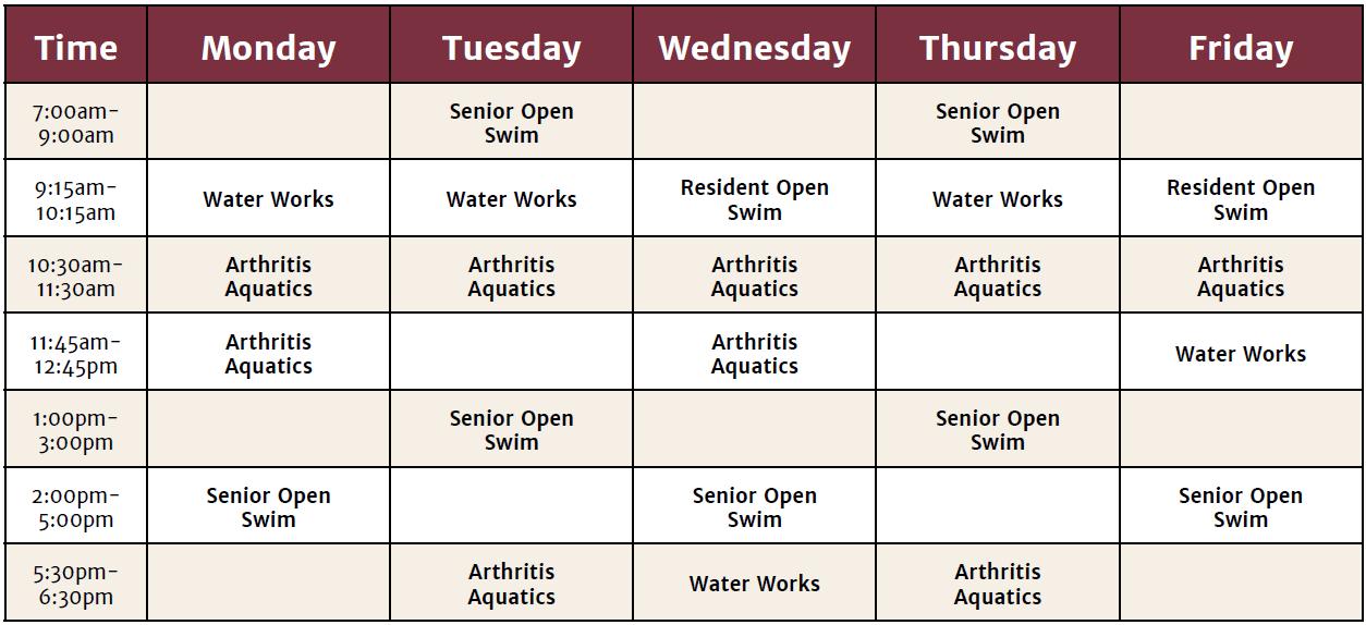 Aquatics Center Schedule