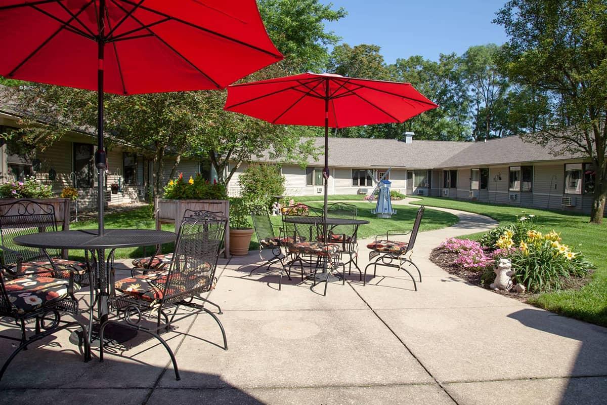 Rose Garden courtyard tables