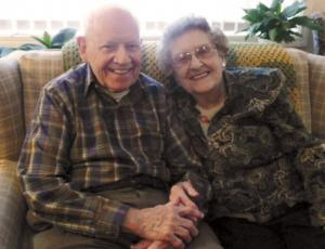 Senior couple celebrating long marriage in their senior living experience at Sunset